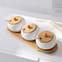 奇居良品 陶瓷调味罐套装带盖糖盐罐调料盒日式创意厨房用品 贝拉