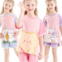 女童家居服儿童夏季套装大童宝宝睡衣冰丝短袖薄款空调服