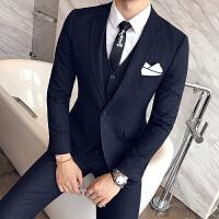 绅士男条纹一粒扣免烫西服男士修身显瘦西装马甲西裤三件套装礼服