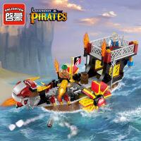 启蒙积木拼装小颗粒模型6-10岁儿童益智玩具海盗系列海洋之子1307