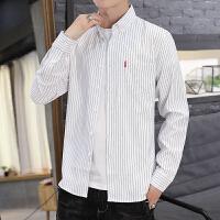 新款男士衬衫 条纹衬衫男长袖韩版潮流修身衬衣青年外穿寸衫