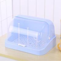 杯子沥水+沥水盘+防尘罩 防尘罩放茶杯子玻璃水杯具收纳盒置物架小柜子沥水托盘带翻盖家用 送支架