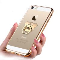 支持礼品卡 iPhone se 手机壳 透明 硅胶 电镀 苹果 iphone 5s 创意指环 扣 全包 软壳 五代 简