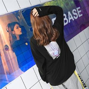 七格格长袖T恤黑色秋装女新款学生宽松韩版百搭chic上衣嘻哈中长款