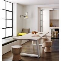 北欧家具电脑桌原木色现代简约餐桌办公桌铁艺多功能桌椅组合