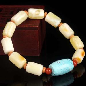 稀有收藏级白蜡桶珠DIY手串  配绿松石桶珠