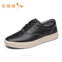 红蜻蜓男鞋春夏新款休闲皮鞋简约时尚舒适金属百搭圆头男休闲皮鞋-