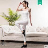 运动吊带套装空中瑜伽连体衣白色专业连体瑜伽服女紧身一体式形体服