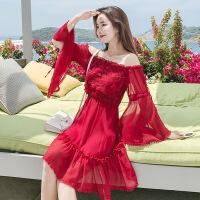 2018夏季新款海边度假裙雪纺一字肩抹胸露肩透气舒适时尚个性连衣裙 红色