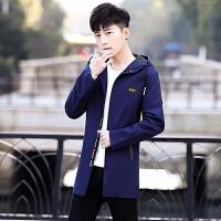 2018春秋季上新款帅哥中长款修身型夹克衫男学生连帽青年修身风衣