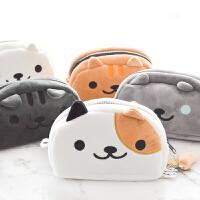 日本卡通小猫毛绒猫咪学生笔袋铅笔文具盒大容量学习用品收纳