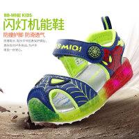 开心米奇儿童包头凉鞋夏季新款宝宝鞋小孩子鞋可爱闪灯防滑沙滩鞋