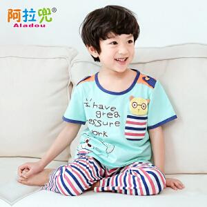 阿拉兜男童睡衣夏季新款儿童家居服纯棉短袖睡衣睡裤薄空调服套装 3341