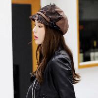 女士帽子时尚潮百搭韩版优雅盆帽逛街英伦贝雷八角帽