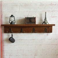 挂壁实木隔板客厅置物架墙上衣帽架松木板墙壁挂衣架实木搁板挂钩