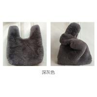 新款韩版时尚仿獭兔毛皮草手提包袋可爱毛毛绒包包女托特包潮shq 深灰色