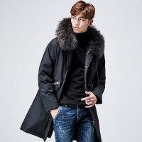 yaloo/雅鹿羽绒服男 中长款2017韩版新款冬季加厚保暖修身连帽潮 YS6107680