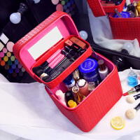 大容量化妆包双层便携手提化妆箱大号简约化妆品收纳盒旅行小方包shq