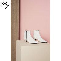 Lily春新款女装时髦黑白尖头小猫跟拉链踝靴118330JZ407