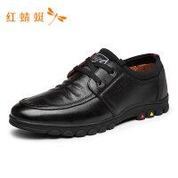 红蜻蜓皮鞋春夏新款男真皮英伦商务正装皮鞋男舒适软底男休闲皮鞋-