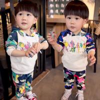 *儿童装男童卫衣套装2018春装运动长袖迷彩休闲衣服