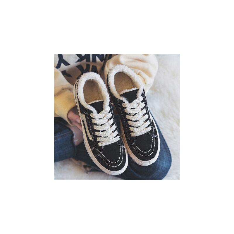 加绒帆布鞋二棉鞋韩版百搭学生冬鞋冬天板鞋女鞋潮