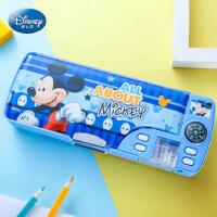 迪士尼文具盒男小学生铅笔盒塑料笔袋可1-3年级女儿童爱卡通多功能创意大容量学习文具用品带笔削笔盒