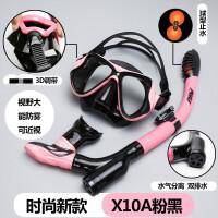 呼吸管自由泳 潜水呼吸管自由泳水下换气游泳镜器装备神器吸气眼镜眼睛面镜 CX 【新款】X10A 粉黑