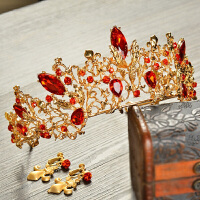 新娘头饰欧式复古皇冠饰品红色结婚皇冠婚纱礼服发饰发箍 均码