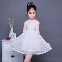 女童装连衣裙七分袖蕾丝圆领白色甜美公主裙女孩夏装