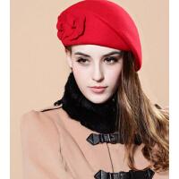 春秋冬天贝雷帽羊毛呢 韩版可爱时尚双花帽鸭舌帽女帽子女英伦