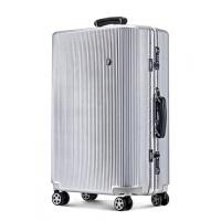铝框拉杆箱万向轮24学生密码旅行箱男20登机箱子26行李箱女30寸28 拉丝银 跨界款