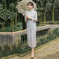 旗袍 女士立领刺绣蕾丝复古改良式旗袍2020秋季新款韩版时尚女式修身洋气连衣裙女装A字裙