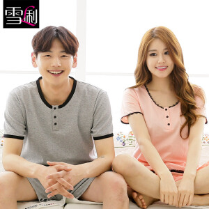 雪俐可外穿新品韩版情侣睡衣家居服男女士短袖夏季薄款居家服套装