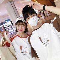 情侣装夏装新款印花短袖T恤男女夏季韩版宽松拼色学生班服