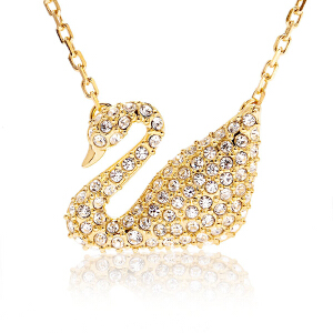 Swarovski施华洛世奇女士吊坠金色密镶水晶天鹅项链坠子5063921