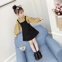 女童秋装套装韩版潮衣秋季儿童装小女孩洋气背带裙两件套