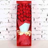 送闺蜜 57号浪漫粉红玫瑰捧花 卡通娃娃公仔永生仿真香皂玫瑰礼盒花束