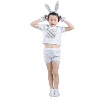 六一儿童节小白兔子动物演出服小白兔表演服舞台服幼儿兔子舞蹈服 白色 小兔子