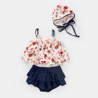 嘟嘟之家2女童泳衣分体3岁儿童碎花泳装套装夏4宝宝三件套5游泳衣