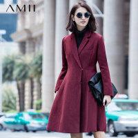 【券后秒杀80元】Amii[极简主义]秋冬新款翻领羊毛呢子大衣中长款纯色毛呢外套