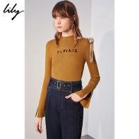 【25折到手价:109.75元】 Lily春新款女装字母不对称绑带镂空收腰针织衫118330B8331