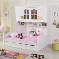 韩式衣柜床 收纳床 儿童卧室家具 板木组合床配高箱