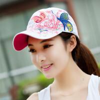 蝴蝶刺绣帽子夏季女士棒球帽户外嘻哈太阳帽鸭舌夏天遮阳帽 可调节(55-60)cm