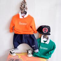 童装男童长袖卫衣春装新款2018中小儿童韩版翻领套头上衣打底衫潮