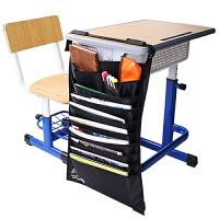 【满100-50】得力72365多功能课桌神器学生书挂袋可调书本收纳袋挂架挂书袋