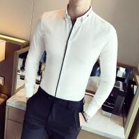 潮流韩版发型师长袖衬衣男英伦商务青年修身尖领纯色衬衫