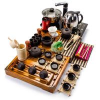 全紫紫砂功夫茶具套装整套实木茶盘四合一电磁炉家用t8c