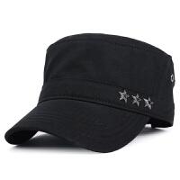 帽子男士秋冬季新款休闲平顶帽户外保暖帽全棉鸭舌帽军帽