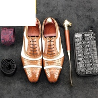 CUM2017新款英伦休闲男鞋 雕花布洛克潮流鞋子男士尖头复古黑白皮鞋